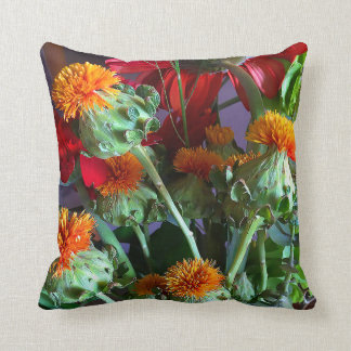 Mother's Day Orange Thistle Throw Pillow