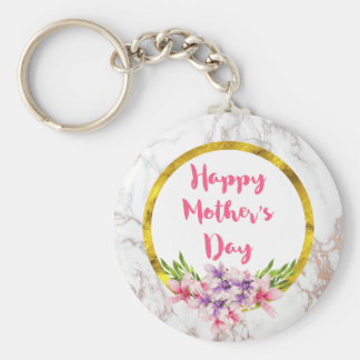 Mother's Day Pink and Purple Watercolor Magnolias Keychain