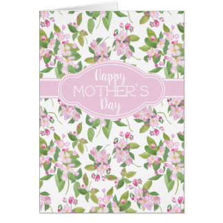Mother's Day Pink Apple Blossom on White Card