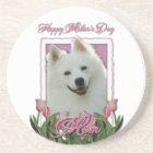 Mothers Day - Pink Tulips - American Eskimo Coaster