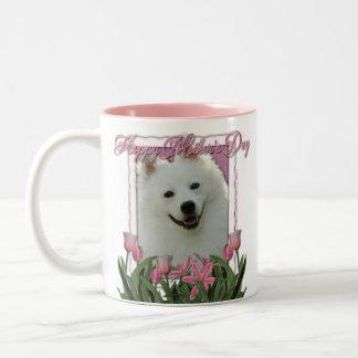 Mothers Day - Pink Tulips - American Eskimo Two-Tone Coffee Mug