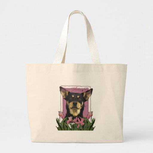 Mothers Day - Pink Tulips - Australian Kelpie Jude Tote Bags