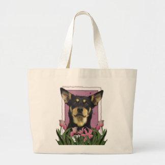 Mothers Day - Pink Tulips - Australian Kelpie Jude Jumbo Tote Bag