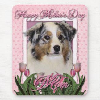 Mothers Day - Pink Tulips - Australian Shepherd Mouse Pad