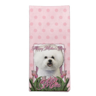 Mothers Day - Pink Tulips - Bichon Frise Cloth Napkin