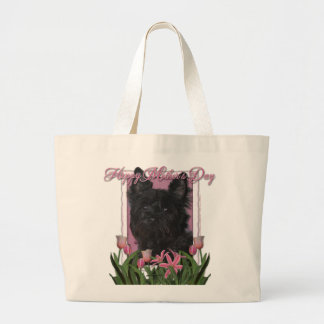 Mothers Day - Pink Tulips - Cairn Terrier - Rosco Large Tote Bag