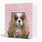 Mothers Day - Pink Tulips - Cavalier - Blenheim 3 Ring Binder