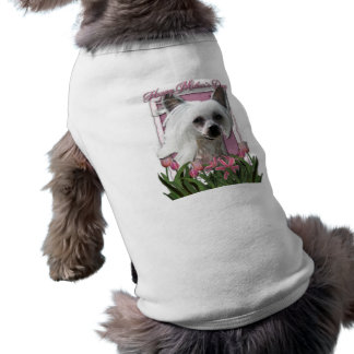 Mothers Day - Pink Tulips - Chinese Crested -Kahlo Dog Tee Shirt