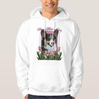 Mothers Day - Pink Tulips - Corgi Hoodie