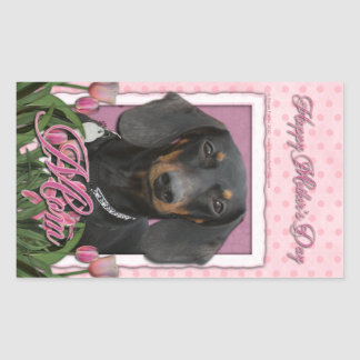 Mothers Day - Pink Tulips - Dachshund - Winston Rectangular Stickers