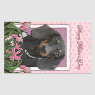 Mothers Day - Pink Tulips - Dachshund - Winston Rectangle Sticker