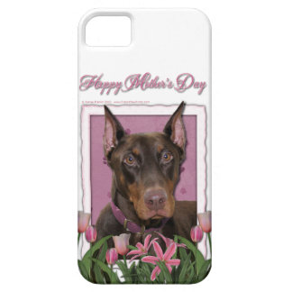 Mothers Day - Pink Tulips - Doberman - Red - Rocky iPhone 5 Cases