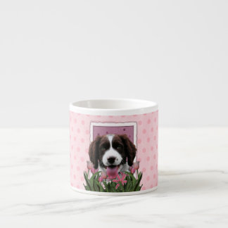 Mothers Day - Pink Tulips English Springer Spaniel Espresso Cup