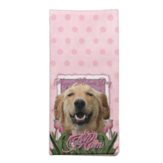 Mothers Day - Pink Tulips - Golden Retriever Napkin