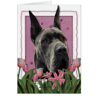 Mothers Day - Pink Tulips - Great Dane - Grey Card