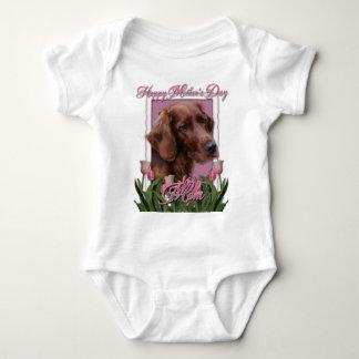 Mothers Day - Pink Tulips - Irish Setter Baby Bodysuit