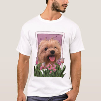 Mothers Day - Pink Tulips - Morkie - Lacey T-Shirt