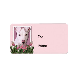 Mothers Day - Pink Tulips - Pitbull Puppy - Petey