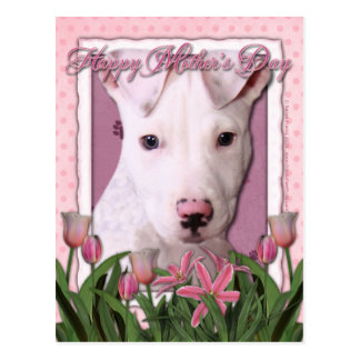 Mothers Day - Pink Tulips - Pitbull Puppy - Petey Postcard