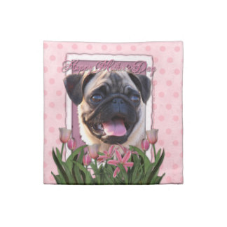 Mothers Day - Pink Tulips - Pug Cloth Napkins