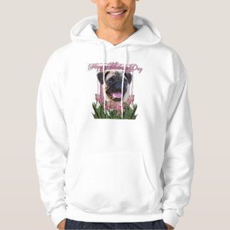 Mothers Day - Pink Tulips - Pug Hoodie