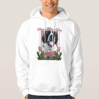 Mothers Day - Pink Tulips - Saint Bernard - Mae Hoodie
