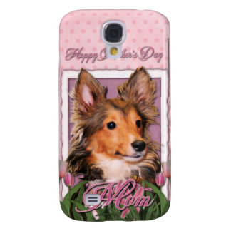Mothers Day - Pink Tulips - Sheltie Puppy - Cooper