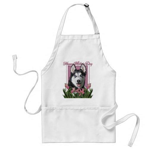 Mothers Day - Pink Tulips - Siberian Husky Apron