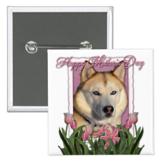 Mothers Day - Pink Tulips - Siberian Husky Pin