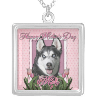 Mothers Day - Pink Tulips - Siberian Husky Necklace