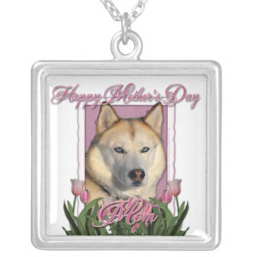 Mothers Day - Pink Tulips - Siberian Husky Personalized Necklace