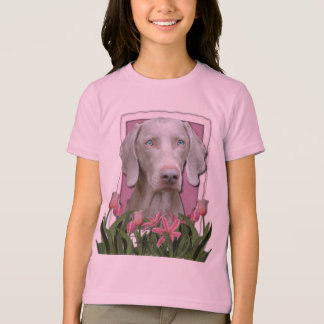 Mothers Day - Pink - Tulips - Weimeraner - Blue T-Shirt