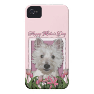 Mothers Day - Pink Tulips - Westie Case-Mate iPhone 4 Cases