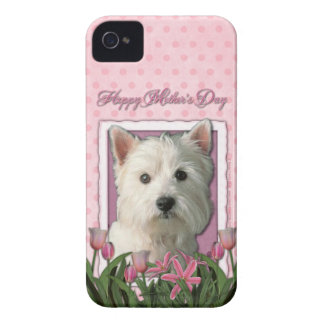 Mothers Day - Pink Tulips - Westie iPhone 4 Case