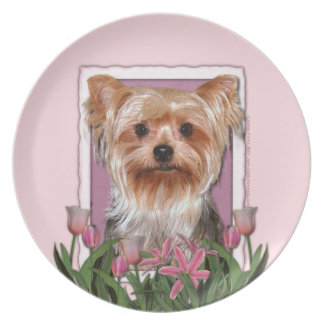 Mothers Day - Pink Tulips - Yorkshire Terrier Dinner Plate