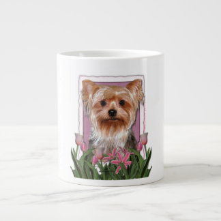 Mothers Day - Pink Tulips - Yorkshire Terrier Giant Coffee Mug