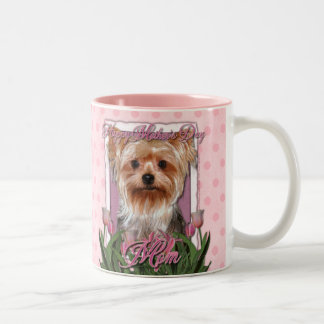 Mothers Day - Pink Tulips - Yorkshire Terrier Two-Tone Coffee Mug