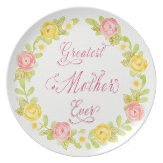 Mother's Day - Pretty Watercolor Roses 3  Word Art Plate