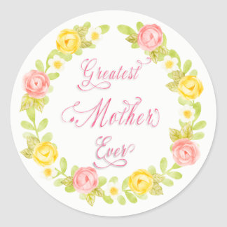 Mother's Day -  Pretty Watercolor Roses - Word Art Classic Round Sticker