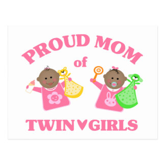 Mother's Day Proud Mom Of Twin Girls Ethnic Postcards