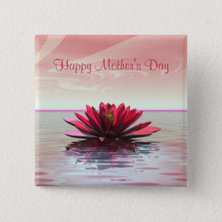 Mother's Day Red Water Lily 2 Inch Square Button