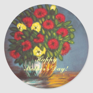 Mother's Day Red Yellow Flowers Vase Sticker
