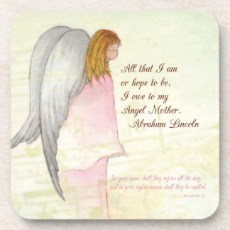 Mother's Day Religious Angel, Square Gift Beverage Coasters