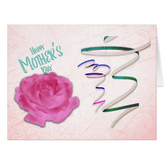Mother's Day Rose and Confetti Big Greeting Card