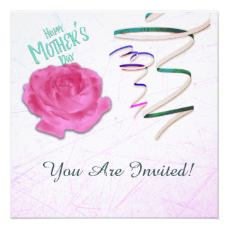 Mother's Day Rose and Confetti Invitation