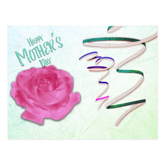 Mother's Day Rose and Confetti Postcard