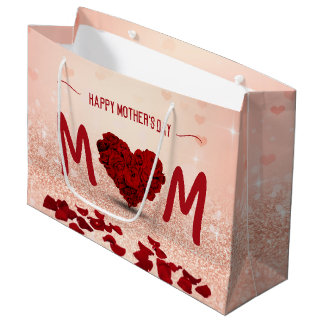 Mother's Day Rose Heart Bouquet - Large Gift Bag