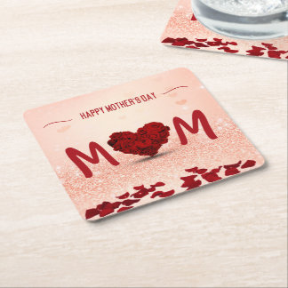Mother's Day Rose Heart Bouquet - Paper Coaster