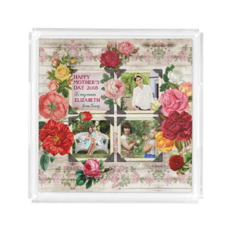Mother's Day Roses Instagram Vintage Photo Collage Acrylic Tray