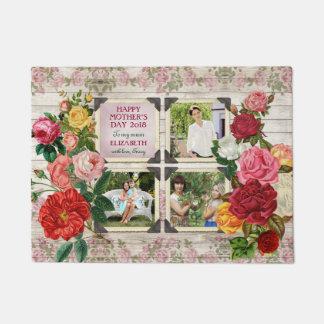Mother's Day Roses Instagram Vintage Photo Collage Doormat